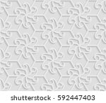 seamless 3d white pattern ... | Shutterstock .eps vector #592447403