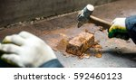 just produced gold ingot | Shutterstock . vector #592460123