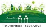 green eco city living concept.   Shutterstock .eps vector #592472927
