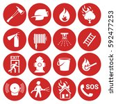 fire emergency icons set | Shutterstock .eps vector #592477253