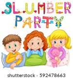 kids in pajamas at slumber... | Shutterstock .eps vector #592478663