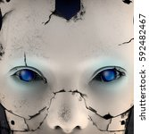 face of a cyborg with blue eyes.... | Shutterstock . vector #592482467