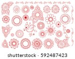 hand drawn flowers. vintage | Shutterstock .eps vector #592487423