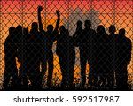 vector silhouette people behind ... | Shutterstock .eps vector #592517987