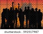 vector silhouette people behind ... | Shutterstock .eps vector #592517987