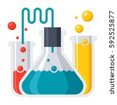laboratory flasks icon in flat