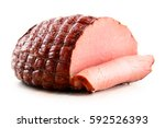 Piece of ham isolated on white...