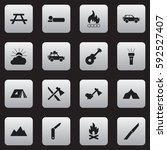 set of 16 editable trip icons.... | Shutterstock .eps vector #592527407
