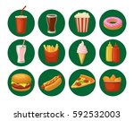 set fast food icon. cup cola ... | Shutterstock .eps vector #592532003