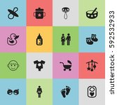set of 16 editable child icons. ...