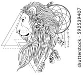 lion head portrait  isolated on ... | Shutterstock .eps vector #592539407