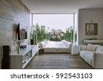 interior view of a modern... | Shutterstock . vector #592543103