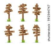 wooden arrow signboards... | Shutterstock .eps vector #592544747