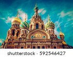 orthodox church of the savior... | Shutterstock . vector #592546427
