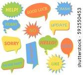 set of speech bubbles on a... | Shutterstock . vector #592550453
