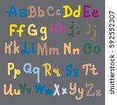 hand drawn alphabet. brush... | Shutterstock .eps vector #592552307