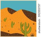 desert dunes and cactus. vector ...   Shutterstock .eps vector #592555757