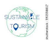 sustainable tourism concept... | Shutterstock .eps vector #592558817