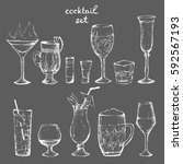 cocktails   set of white hand... | Shutterstock .eps vector #592567193