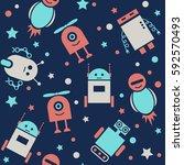 cute robots seamless pattern.... | Shutterstock .eps vector #592570493
