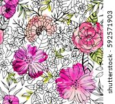 black and white detailed floral ... | Shutterstock . vector #592571903
