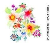 watercolor flowers illustration.... | Shutterstock . vector #592575857