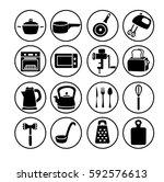 kitchen equipment icons set