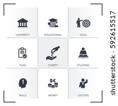 scholarship icon set | Shutterstock .eps vector #592615517