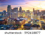 aerial view of downtown detroit ...   Shutterstock . vector #592618877