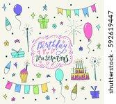 wonderful hand painted birthday ... | Shutterstock .eps vector #592619447