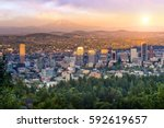 downtown portland  oregon at... | Shutterstock . vector #592619657