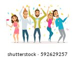 birthday party. people... | Shutterstock .eps vector #592629257