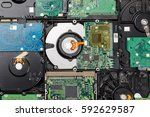 Small photo of hard drive disk pattern back side closeup