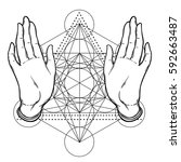 open hands over sacred geometry ... | Shutterstock .eps vector #592663487