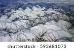 aerial view of snow covered...   Shutterstock . vector #592681073