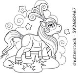 little cute pony coloring book | Shutterstock .eps vector #592683467