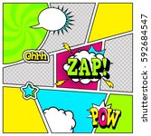 comic book page template in pop ... | Shutterstock .eps vector #592684547