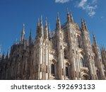 duomo di milano  meaning milan... | Shutterstock . vector #592693133