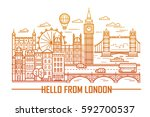 vector set of london city and... | Shutterstock .eps vector #592700537
