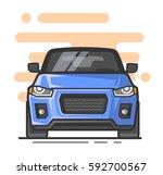 blue suv car cartoon vector in... | Shutterstock .eps vector #592700567