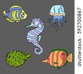 set of sea creatures.   Shutterstock .eps vector #592700867