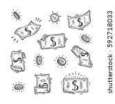 vector set of money. hand drawn ... | Shutterstock .eps vector #592718033
