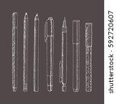 vector sketch of pencils and...