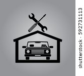 car in the garage icon ... | Shutterstock .eps vector #592731113