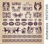 decorative calligraphic... | Shutterstock .eps vector #592737143