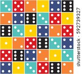 Seamless colorful various positions dice pattern.