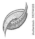 maori style tattoo design.... | Shutterstock .eps vector #592744103
