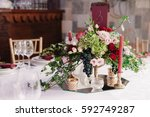 wedding table decoration with... | Shutterstock . vector #592749287