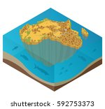 flat 3d isometric africa map... | Shutterstock .eps vector #592753373