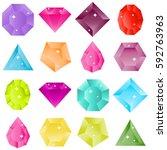 gems  set gemstones  ruby ... | Shutterstock .eps vector #592763963